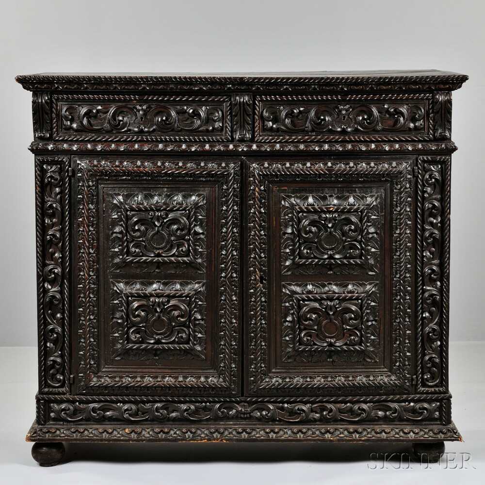 Continental Iberian-style Carved Two-Door Cabinet