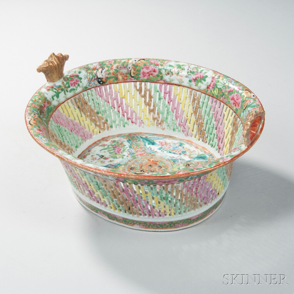Rose Medallion Reticulated Porcelain Fruit Basket