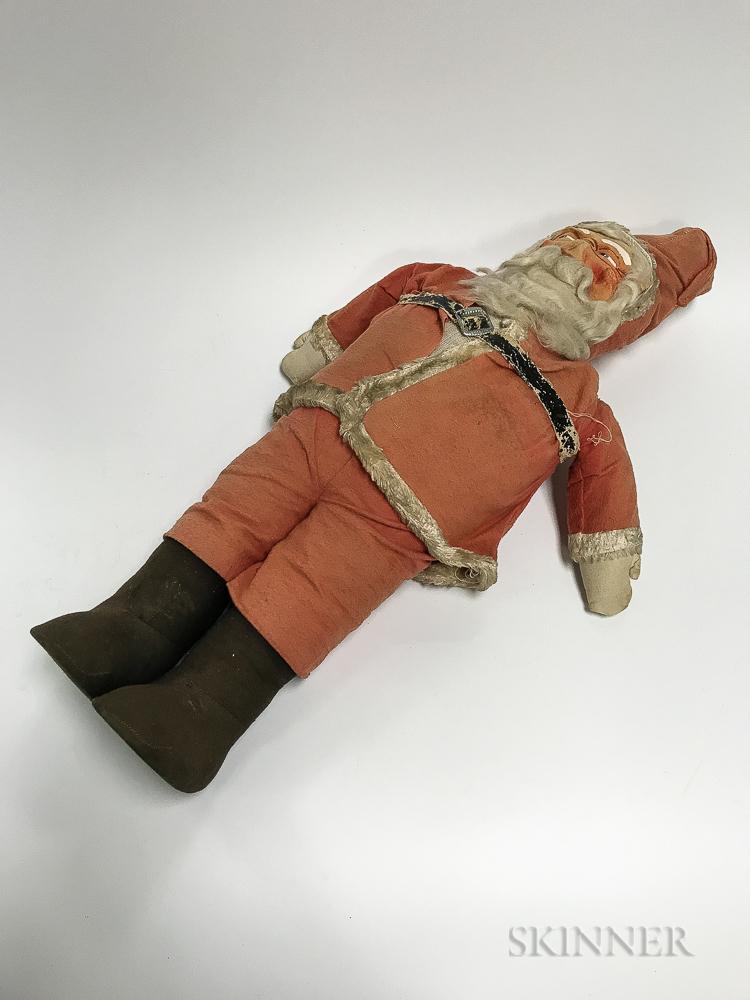 Large Vintage Painted Felt Santa Claus