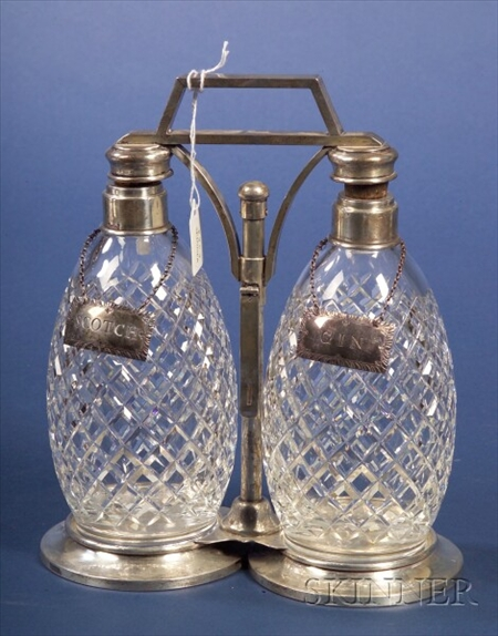 American Sterling and Colorless Glass Two Bottle Tantalus