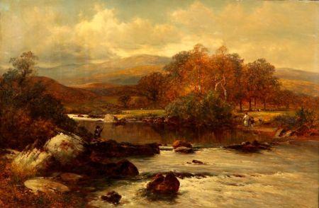 David Bates (British, 1841-1921)    On the Wye / A Welsh River Scene