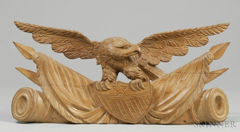 Carved Patriotic Wooden Eagle Plaque
