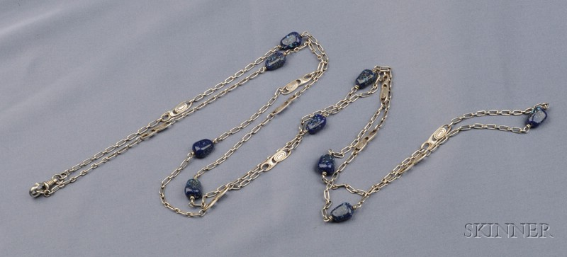 Arts & Crafts Silver and Lapis Chain