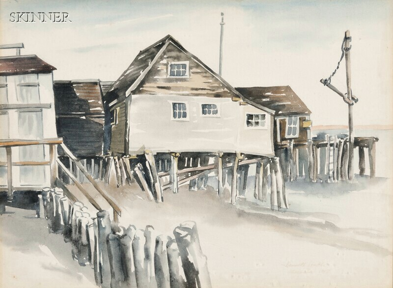 Kenneth Stubbs (American, 1907-1967)      Two Provincetown Views: Bulkheads