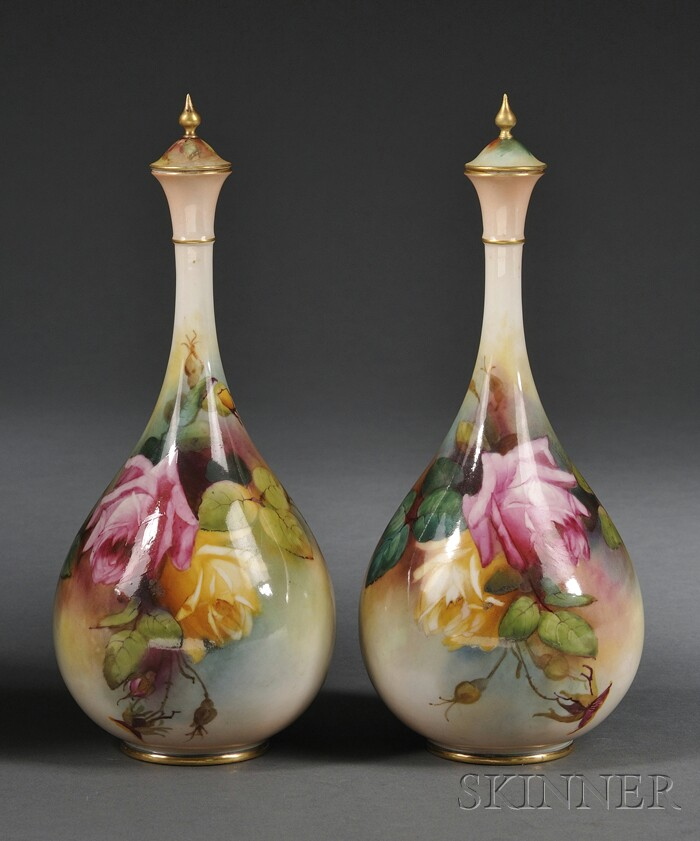 Pair of Royal Worcester Porcelain Hand-painted Vases and Covers
