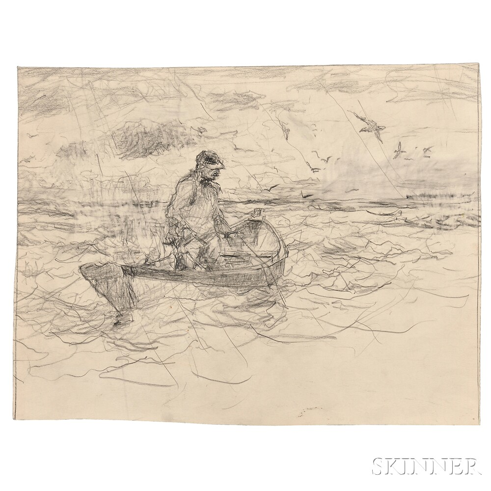 Frank Weston Benson (American, 1862-1951)      Three Unframed Sketches of Boats: Dory Sketches ,  Man in Dory