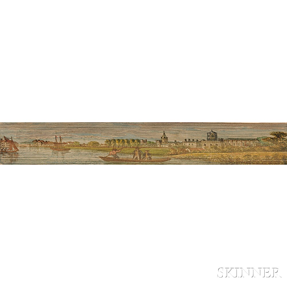 Fore-edge Paintings, British Colleges: Oxford from Christ Church Meadows; Great Court, Trinity College, Cambridge; Jesus College from t