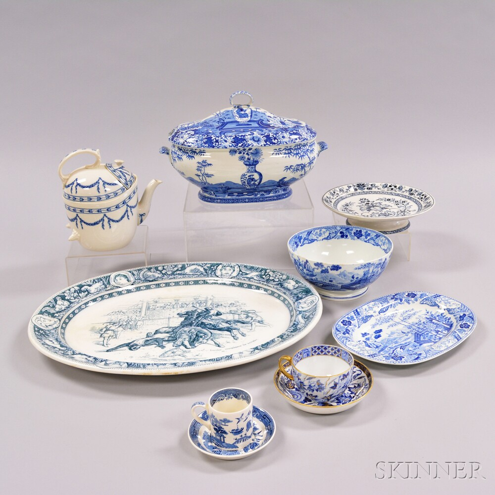 Thirty-one Wedgwood Blue Transfer-decorated Tableware Items
