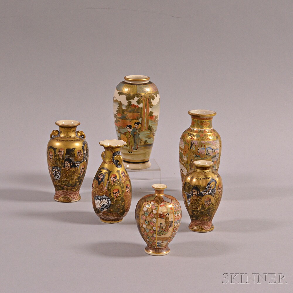 Six Small Satsuma Vases