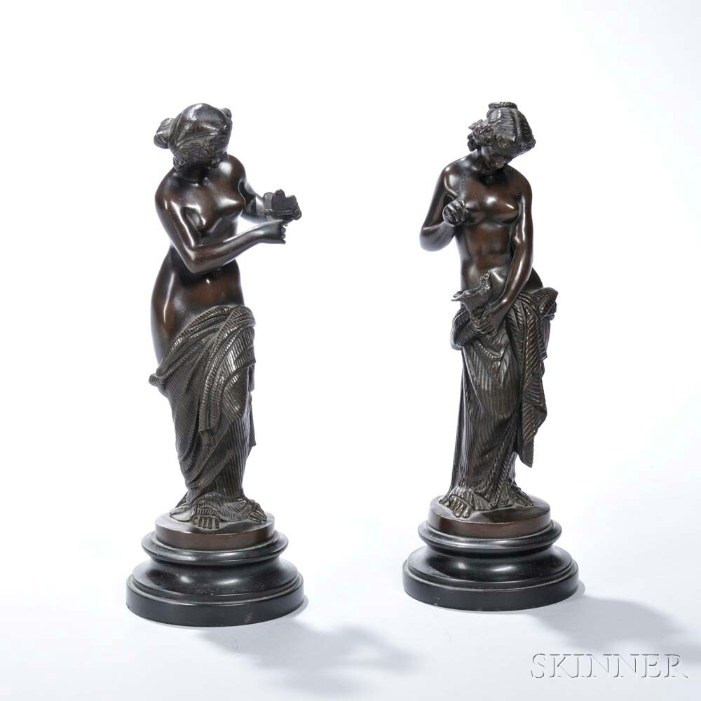 Pair of Grand Tour Bronze Figures of Nymphs