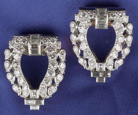 Art Deco Platinum and Diamond Dress Clips, Cartier