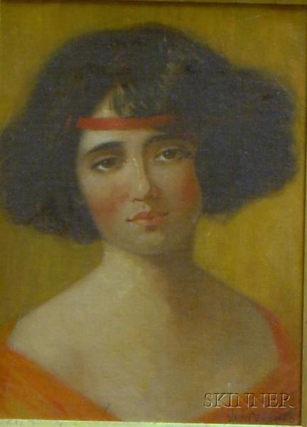 Framed Oil on Canvasboard Portrait of a Woman