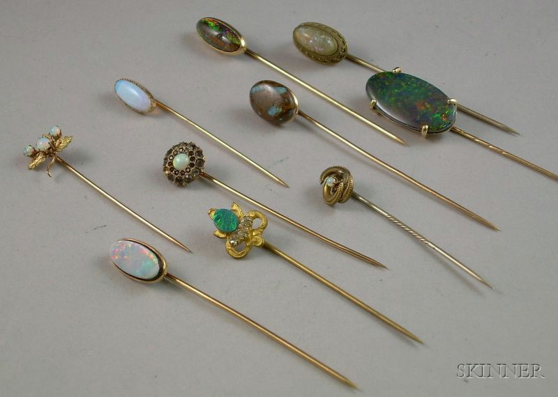 Ten Opal and Mostly Gold Stickpins
