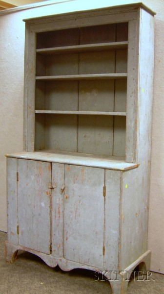 Blue-painted Pine Step-back Cupboard