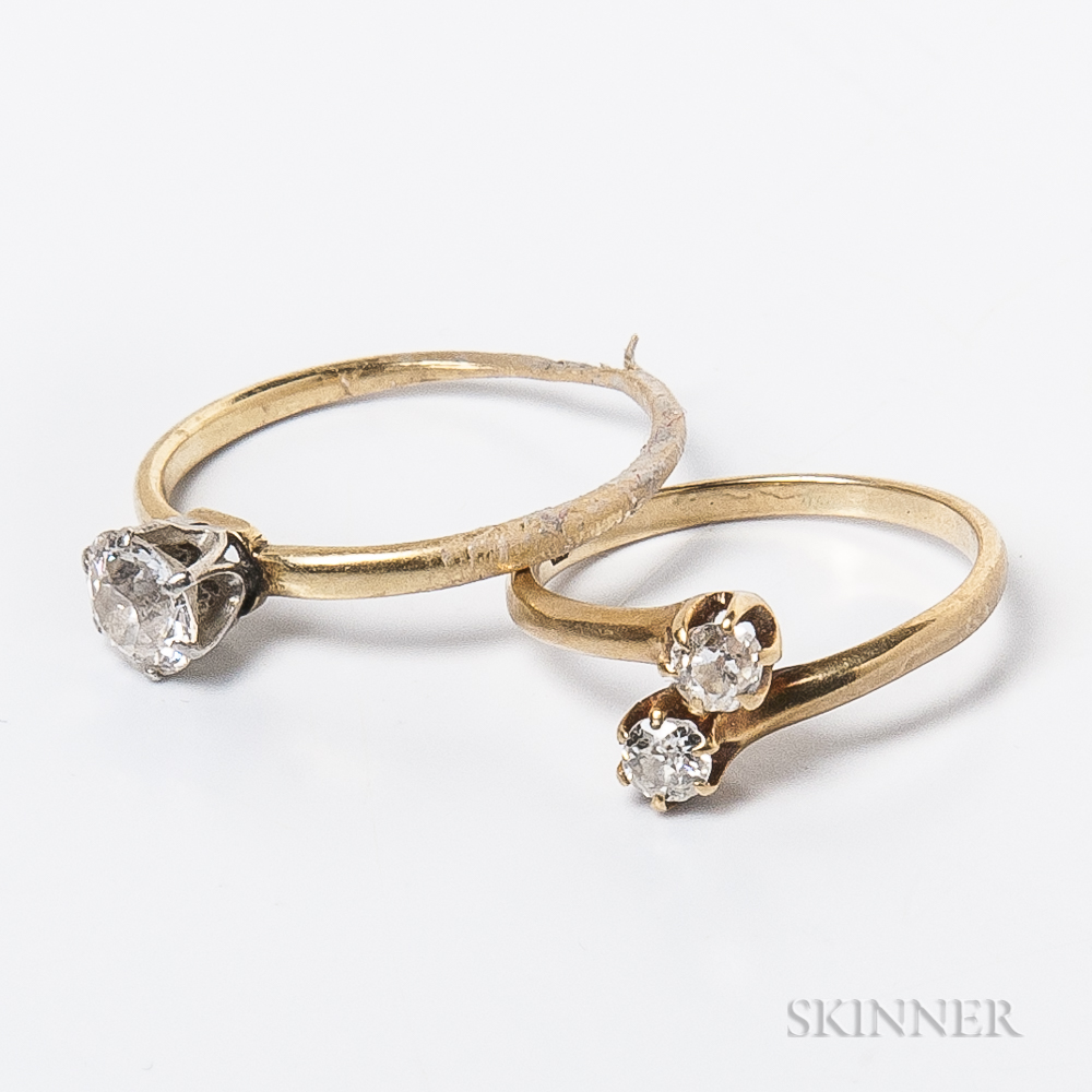 Two Antique Gold and Diamond Rings