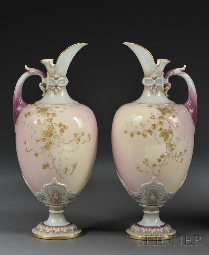 Pair of Royal Worcester Porcelain Prismatic Enameled Ewers