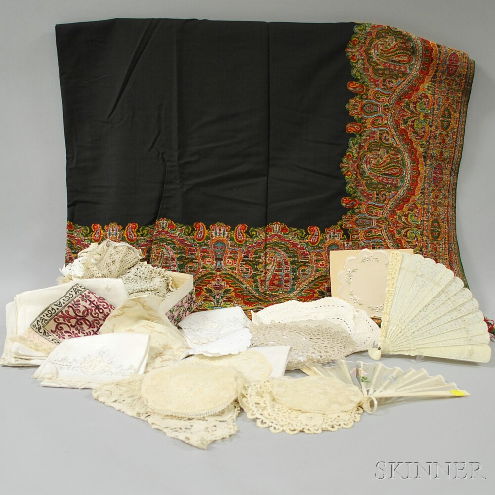 Group of Textiles and Fans