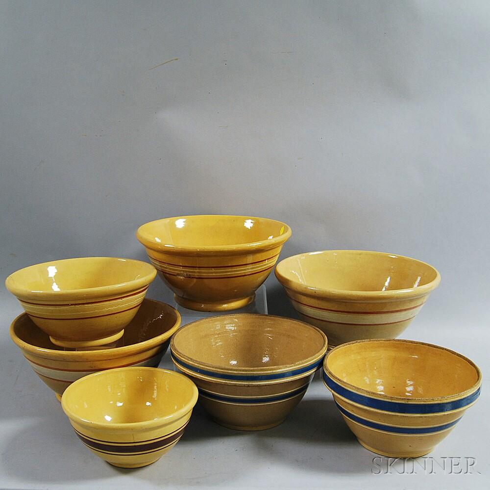 Seven Yellowware Mixing Bowls