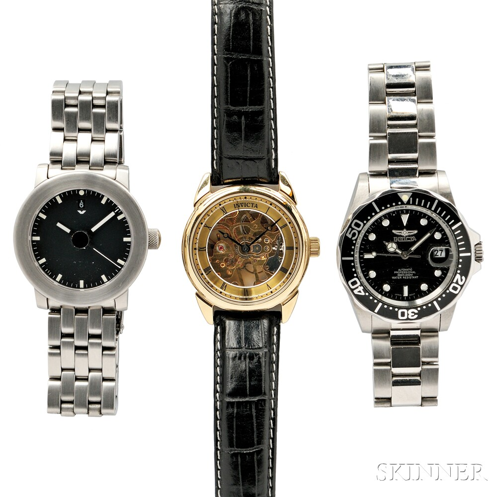 Ventura V-Matic Globe II and Two Mechanical Invicta Wristwatches