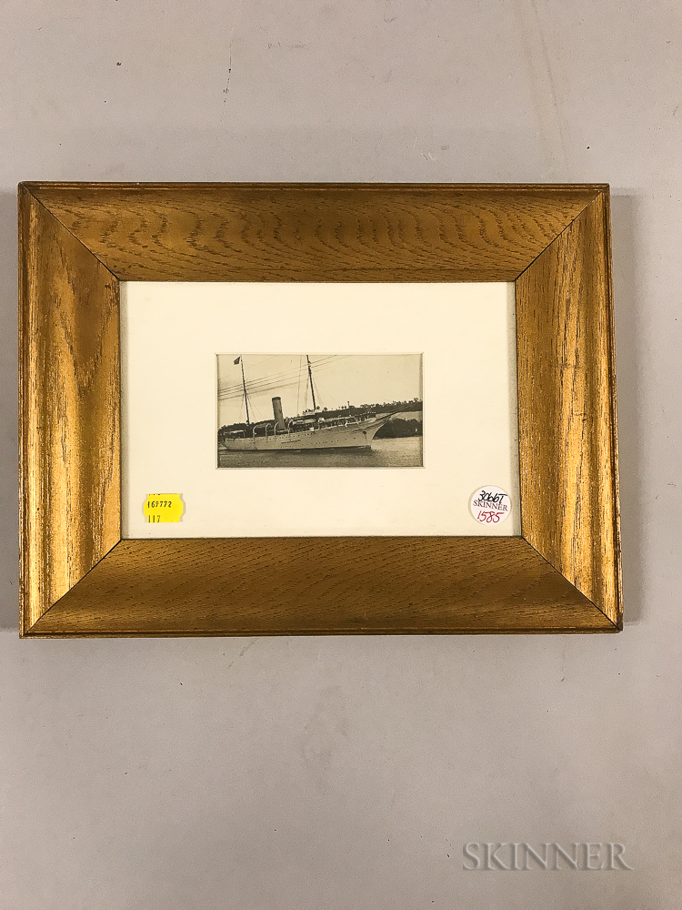 Framed Photograph of the Presidential Yacht Mayflower   with President Warren Harding