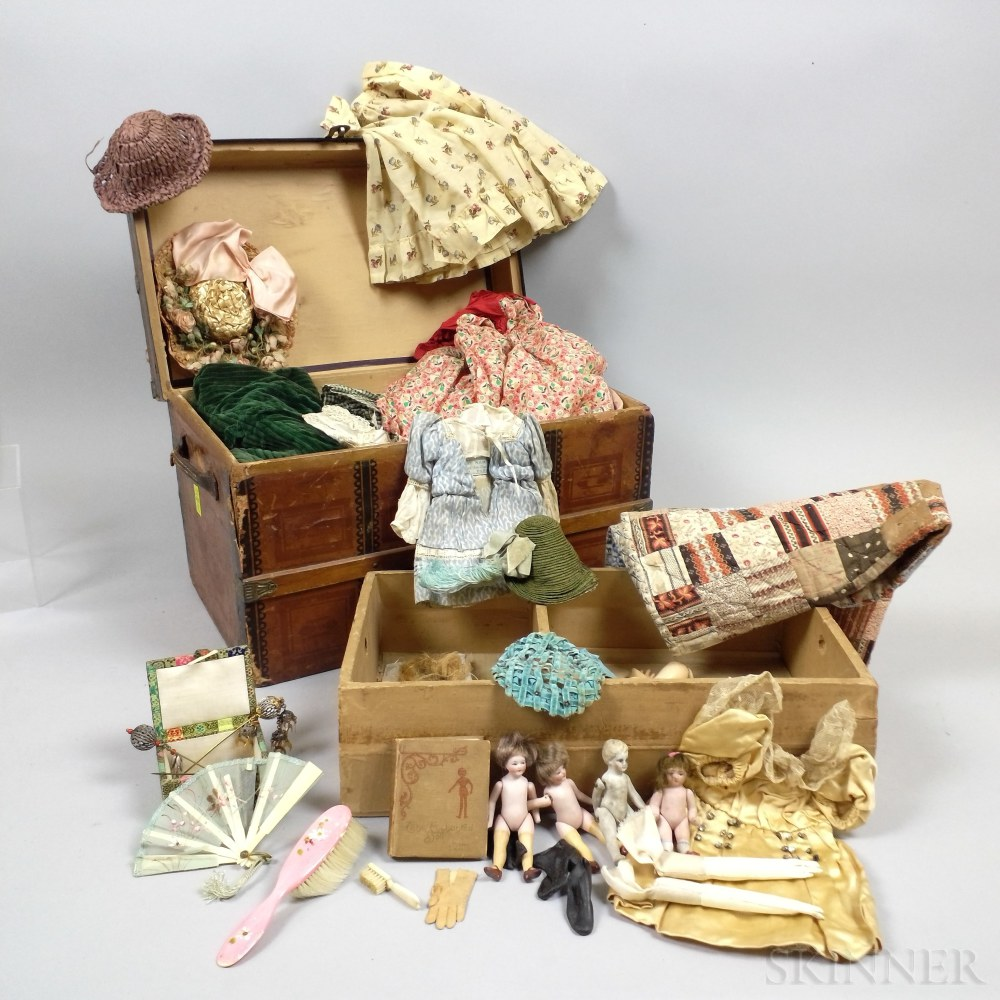 Lithographed Wood Doll's Trunk and Doll Accessories