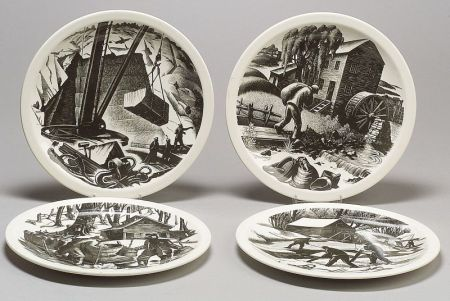 Four Wedgwood Claire Leighton Design Queen's Ware Plates