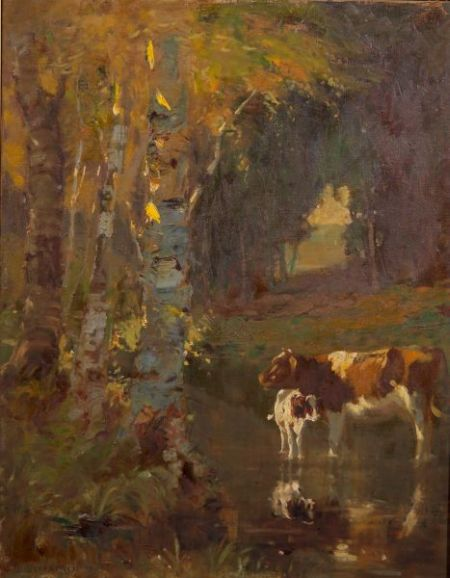 George Glenn Newell (American, 1870-1947)    Cow and Calf in the River Shallows, Autumn