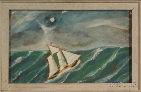 """Attributed to Jonathan Orne Johnson """"J.O.J."""" Frost (American, 1852-1928)    The Ocean at Night."""