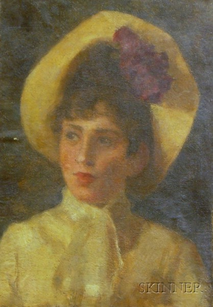 Laura Coombs Hills (American, 1859-1952)      Portrait of a Woman Wearing a Hat