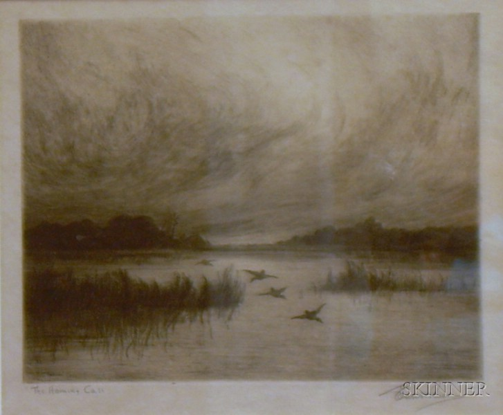 Framed American School Etching on Paper of a Marsh View The   Homing Call