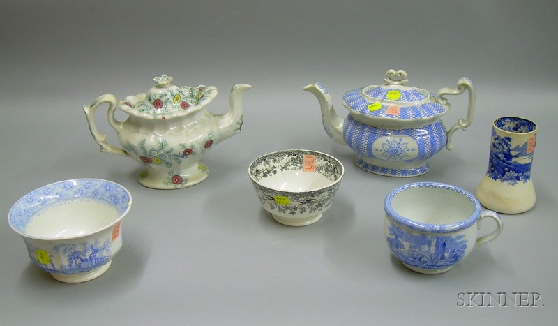 Six English Transfer Decorated Staffordshire Articles