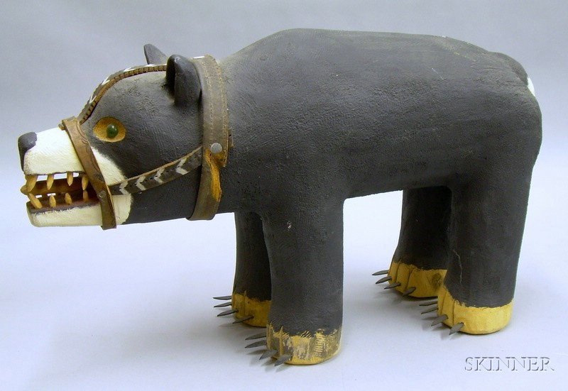 Folk Carved and Painted Wooden Bear Figure