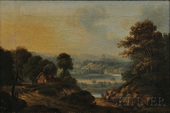 British School, 19th Century      Landscape with a Rider on a Path.