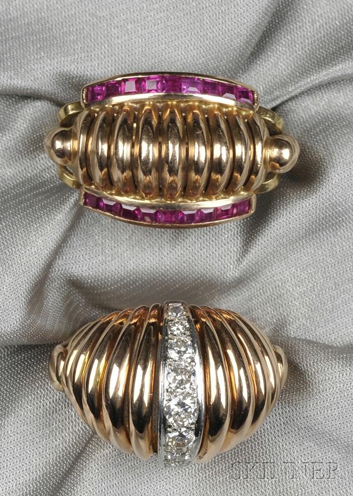 Two Retro 18kt Rose Gold Gem-set Rings