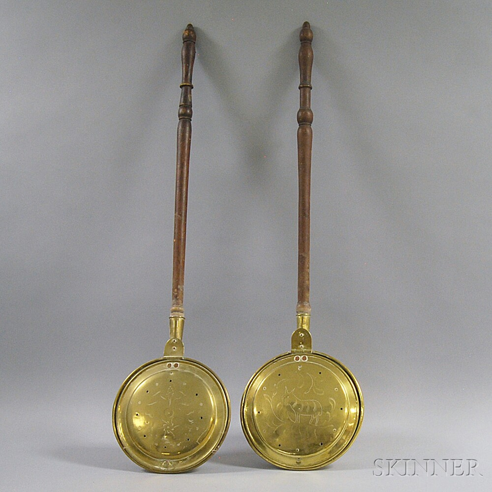Two Brass and Turned Wood Bedwarmers
