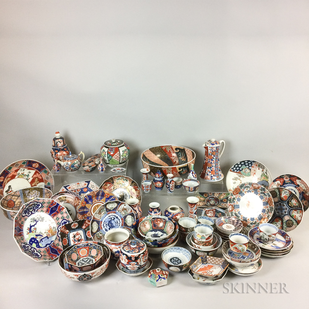 Approximately Seventy-seven Pieces of Japanese Imari Porcelain.     Estimate $1,000-1,500