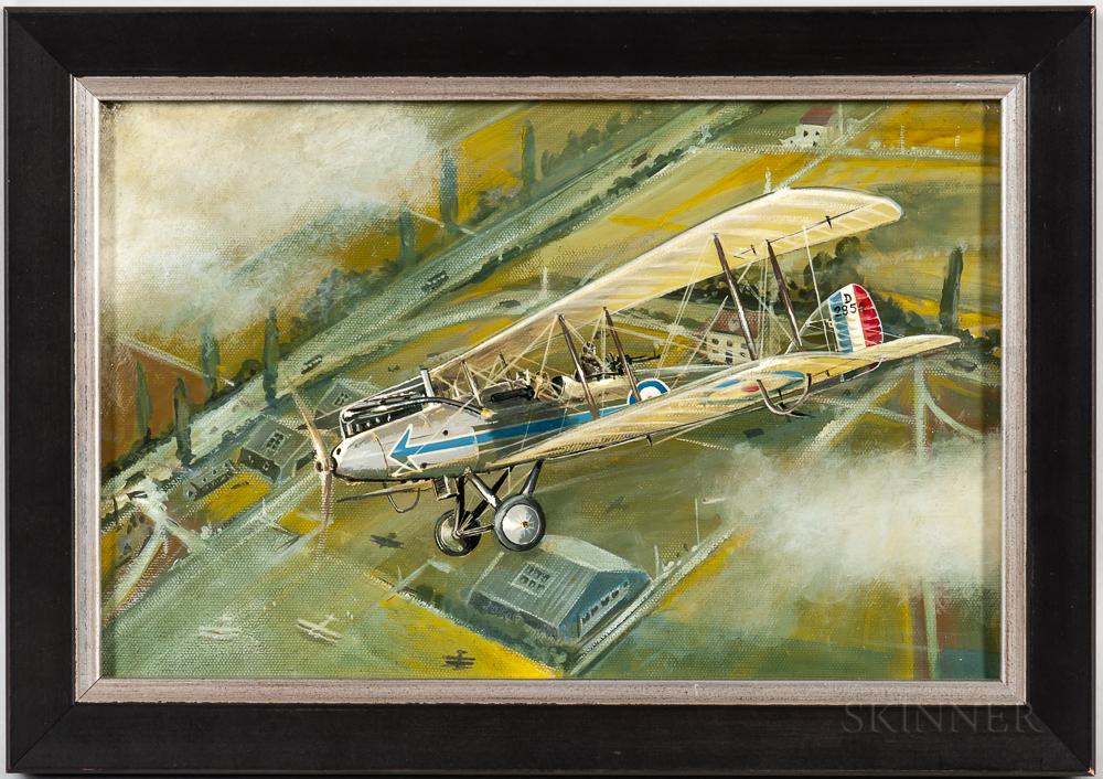 Attributed to Douglas Ettridge (British, 1927-2009)    Portrait of a Biplane