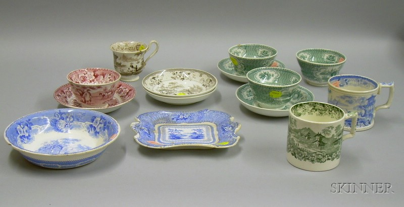 Fourteen Pieces of English Transfer Decorated Staffordshire Tableware