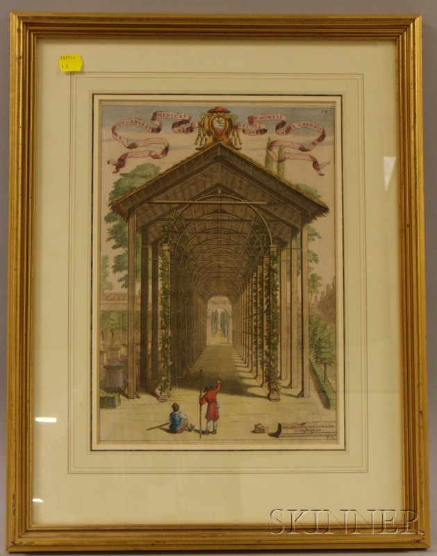 Framed Hand-colored Etching of an Orangerie