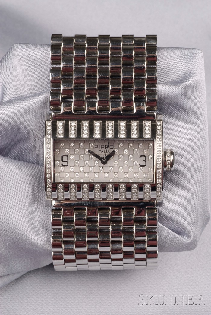 Stainless Steel and Diamond Wristwatch, Pippo
