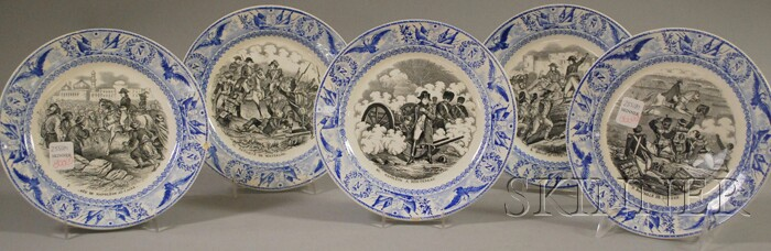 Set of Five French Napoleonic Scenic Transfer-decorated Ceramic Plates