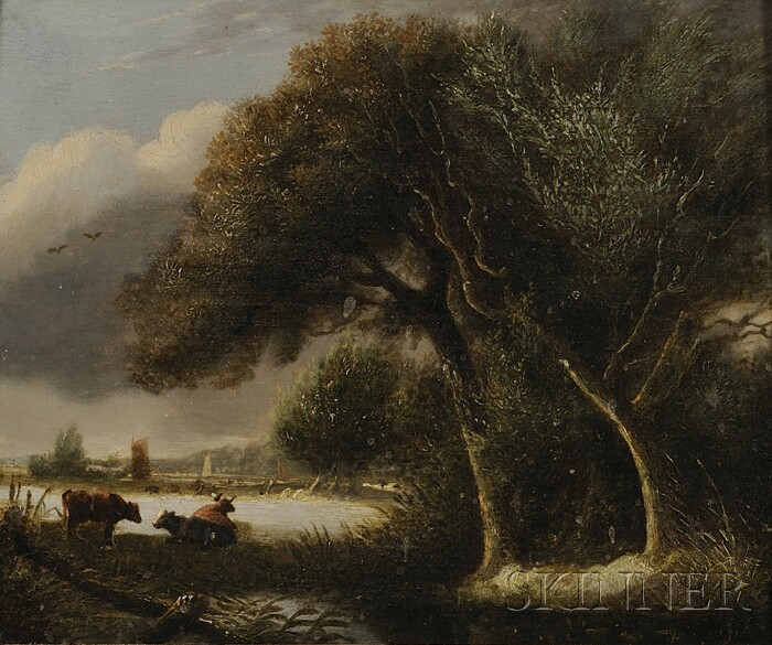 Dutch School, 19th Century      Landscape with Cows by a Lake