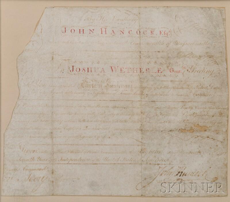 Hancock, John (1737-1793) Signed Document on Parchment.   8 November 1782.