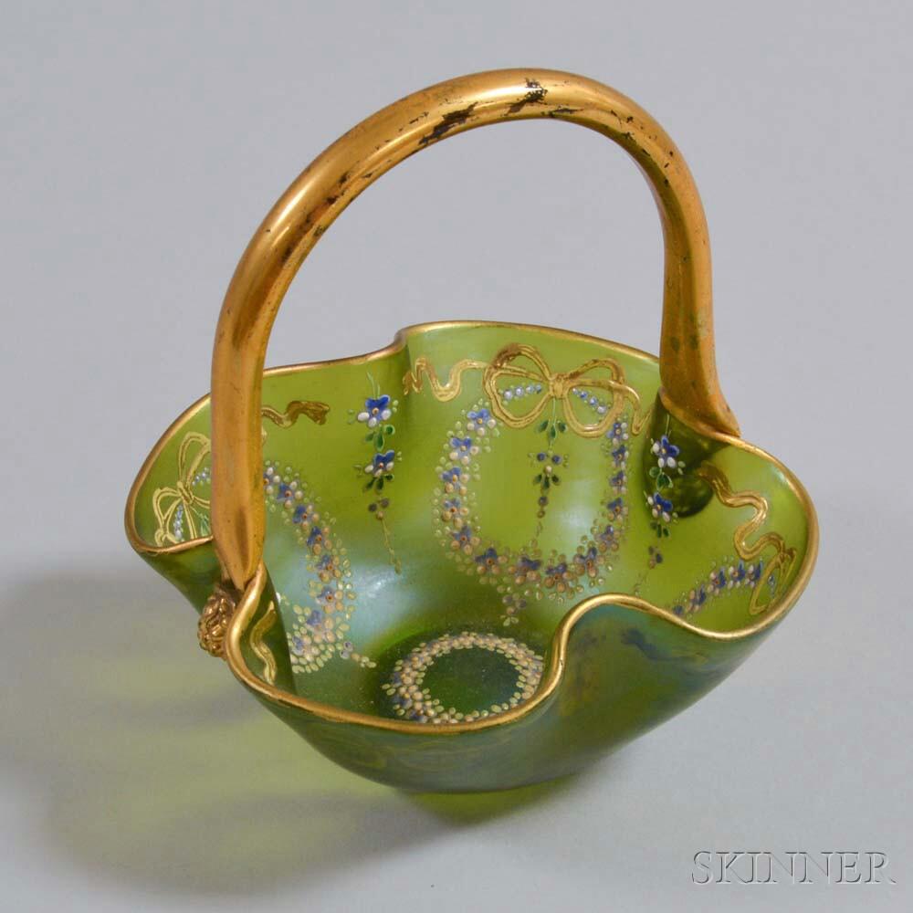 Victorian Art Glass Floral-enameled Wedding Basket
