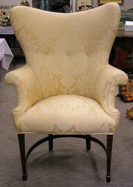 Regency-style Yellow Damask Upholstered Carved Easy Chair.