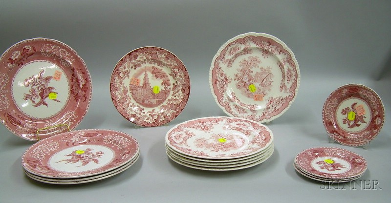 Fifteen English Red and White Transfer Decorated Staffordshire Plates