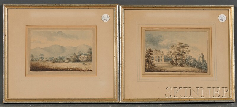 School of William Russell Birch (Anglo/American, 1755-1834)      Two Framed Watercolor Landscapes: Country House with Fields