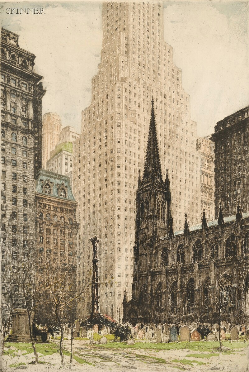 Tanna Kasimir-Hoernes (Austrian/American, 1887-1972)      Two New York City Views:  New York, Trinity Church