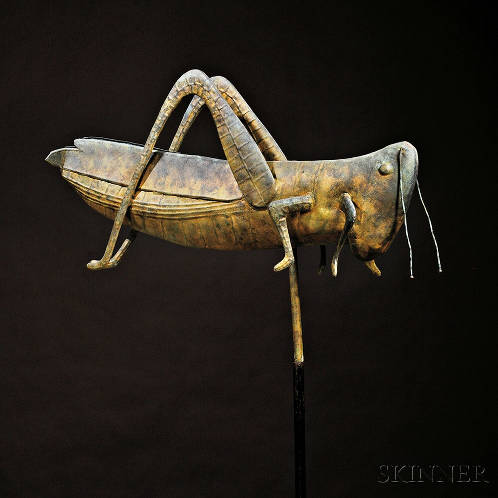 Molded Copper Grasshopper Weathervane and Weathervane Books