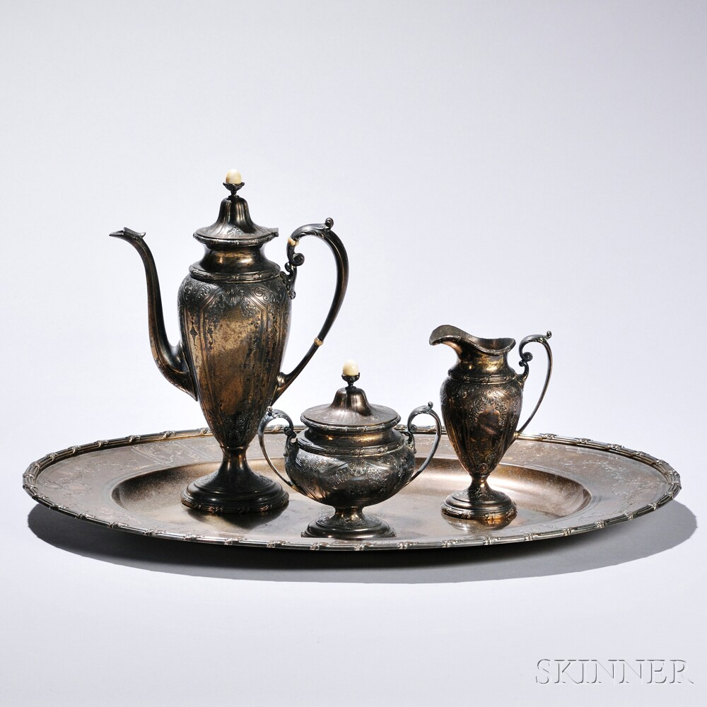 Four-piece Sterling Silver-gilt Durgin Coffee Service